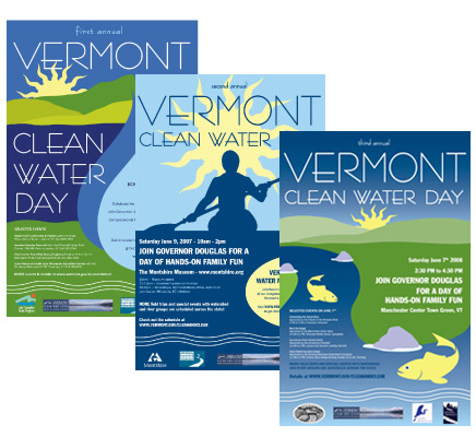 Vermont Clean Water Day poster designs